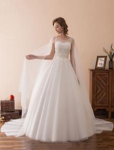 Принцесса Свадебные платья Ватто поезд Свадебное платье Кружева Тюль Милая декольте Иллюзия Свадебное платье