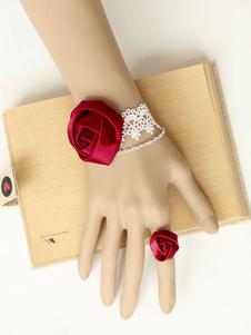 Braccialetto Lolita classico & tradizionale bianca bicolore pizzo set Tea party anello misto cotone