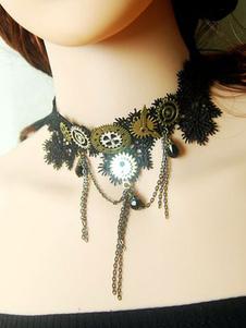 Steampunk Lolita Choker Pizzo Dettagli in metallo Collana Lolita in bronzo