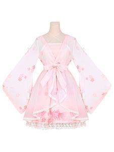 Hanfu Lolita Outfits OP One Piece Платье Шифон Мягкий розовый длинный рукав Ruffles Печатная крышка с JSK Jumper Юбка