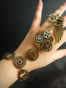 Braccialetto Lolita steampunk bronza bicolore con decori in metallo accessori Tea party bracialetti in lega d'acciaio