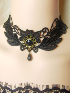 Lolita collana nera classico & tradizionale bicolore Tea party pizzo&con decori in metallo misto cotone