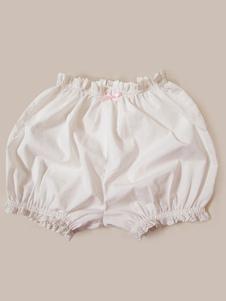 Pantalones cortos de algodón blancos Color liso con pliegues estilo clásico