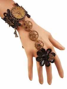 Braccialetto Lolita steampunk bronza con blocchi di colore pizzo accessori Tea party bracialetti in lega d'acciaio