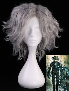 Carnevale Fate Parrucca cosplay resistente al Calore in Fibra grigia parrucca Gioco
