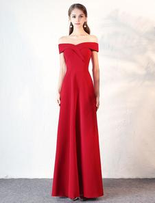 Abbigliamento da sera borgogno svasato maniche corte con scollo a barchetta di Spalle nude zip a terra in raso