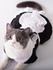 Costume Carnevale Costume per Animali Domestici nero di poliestere cameriera per cuccioli abito