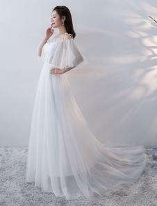 Vestido de noiva praia em linha-A franzida Lace up de tule Com Cauda sem alças com mangas de 1/2 branca