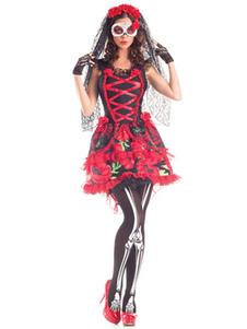 Trajes de Undead Festival para adultos de poliéster Corpse Bride de poliéster estampada para Halloween feminina vermelha