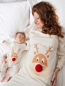 親子ペア クリスマス パジャマ プリント柄 家族お揃い ホワイト コットン 着ぐるみ パジャマ プラスサイズ コスチューム 大人用 パンツ トップス 寝巻き