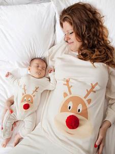مضحك الأسرة عيد الميلاد منامة للطفل الأبيض بذلة للجنسين الصباح نيسيي