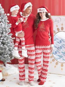 親子ペア クリスマス パジャマ プリント柄 家族お揃い レッド コットン 着ぐるみ パジャマ 子供用 パンツ トップス 寝巻き