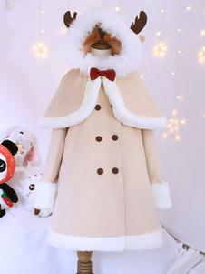 Sweet Lolita Outfits Шерсть Хаки с длинным рукавом с короткими пальто с капюшоном