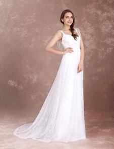 Vestido de noiva Bohemian em linha-A decote V off-shoulder Cintura Natural Fecho Com Cauda com cintura cor de marfim