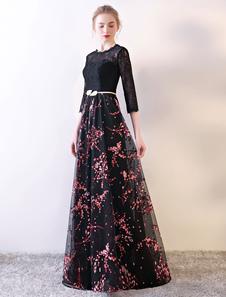 Vestidos De Fiesta Negros De Encaje Medias Mangas Estampado Floral Ilusión Longitud Del Piso Vestidos Largos Formales De Noche Con Faja