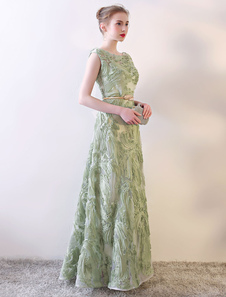 Prom Dresses Long Sage Green Sleeveless A Line Floor Length With Sash wedding guest dress