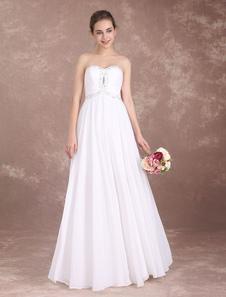 Vestidos de noiva de praia Strapless Chiffon Vestidos de baile Longo Frisado Querida Decote Até o chão Verão vestido de noiva