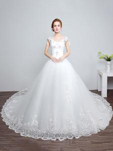 Принцесса свадебные платья Ivory Backless свадебное платье кружева аппликация V шеи длинный поезд свадебное платье