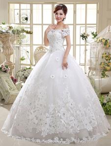 الكرة بثوب فساتين الزفاف الدانتيل الأميرة ثوب الزفاف قبالة الكتف العاج قصيرة الأكمام مطرز الطابق طول أثواب الزفاف 2020