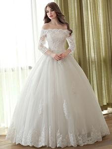 Vestido de novia princesa con escote barco De banda de encaje con 3/4 manga hasta el suelo estilo princesa