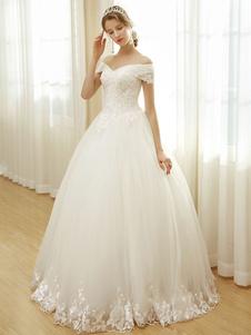 فساتين الزفاف قبالة الكتف فستان الزفاف الدانتيل مطرز الديكور الطابق طول ثوب الزفاف