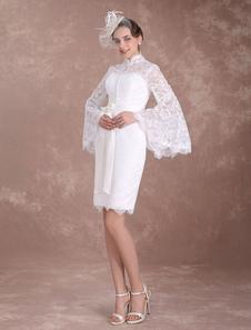 Короткие свадебные платья Кружева Sheath Ivory Bridal Dress Boho Bell Sleeve High Collar Buttons Ribbon Sash Column Knee Length Bridal Gown Milanoo