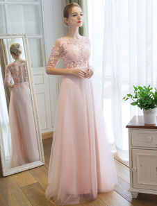 Платья выпускного вечера Длинные мягкие розовые половинные рукава Кружева Тюль Формальные вечерние кружева аппликации Maxi Party Dress