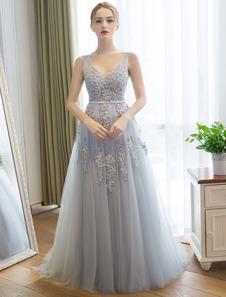 Пром платья Длинные V шеи кружева светло-серый вечернее платье бисером Аппликация Тюль Maxi вечернее платье с поездом