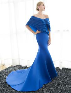 Синие вечерние платья с плеча Русалка Вечерние платья Плетеные атласные формальное платье с поездом