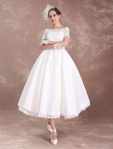 Короткие свадебные платья Vintage Bridal Dress 1950-х годов Bateau Lace с коротким рукавом из слоновой кости Bow Sash Tea Length Свадебное приёмное платье Milanoo