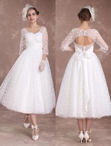 Свадебное платье для выпускного вечера с короткими свадебными платьями 1950-х годов с длинным рукавом из слоновой кости Открытое назад платье для вечеринки из лоскутной ленты Polka Dato Milanoo