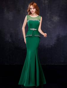 Вечерние платья Peplum атласный горный хрустальный охотник Зеленый вечерний безрукавный русалочный плащ с салфеткой