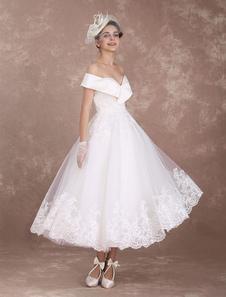 Vintage свадебные платья с плеча короткое свадебное платье 1950-х годов кружева аппликация вышитый бисером платье для свадебного платья