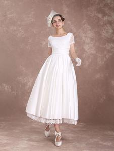 Свадебное платье с коротким рукавом с коротким рукавом 1950-х годов Свадебное платье без спинки