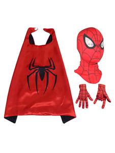 Костюм Человека-паука Дети Красный плащ с капюшоном и перчатками для мальчиков Хэллоуин
