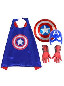 Captain America Costume Halloween Royal Blue 4 peças para meninos