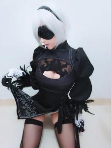 Carnaval Disfraz Halloween Nier: Automata Juego Algodón del Poliester para mujer con parche&con vestido&con guantes&con mini falda&Calcetines hasta la rodilla