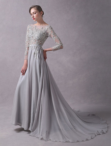 Vestito da sera svasato mit Schleppe grigio chiaro con scollo a barchetta maniche a 3/4 pizzo perline di Spalle nude zip