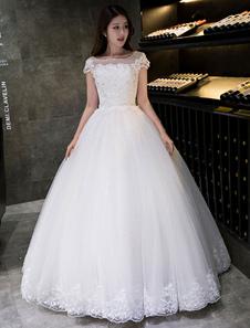 فستان الزفاف العاج الكرة ثوب الأميرة فستان الزفاف الدانتيل زين قصيرة الأكمام باتو الطابق طول ثوب الزفاف
