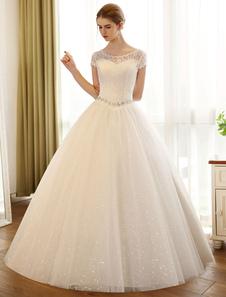 Vestido de noiva tipo princesa em forma de princesa cauda até ao chão gola redonda com mangas curtas Lace up