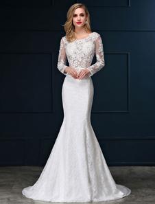 Vestido de noiva sereia em forma de trombeta/sereia gola redonda com mangas compridas Sem costas com cintura cor de marfim