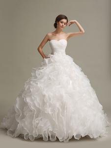 Vestido de noiva tipo princesa em forma de vestido de festa sem fitas Lace up sem mangas Sim com cintura cor de marfim Com Cauda 1m