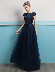 Prom Dresses 2020 Long Dark Navy Vestido de noite Jewel Neck Open Back Sequin Flores Beaded Tulle Floor Length Vestidos formais