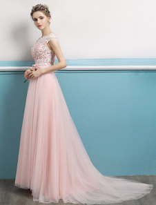 Prom Dresses Soft Pink Long Flores com contas abertas Back Bow Sash mangas Tulle Formal Party Dresses With Train