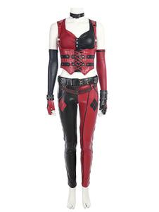 Carnevale Batman Harley Quinn Costume Cosplay Film set pelle mista gilet&guardia polso&cintura&pantaloni&top&guanti&coprimaniche&colletto