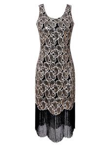1920-х годов модный костюм платье заслонки Great Gatsby Vintage блестками платье с кисточками