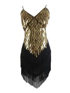 1920-х годов Хэллоуин костюм костюм Gatsby Flapper платье черный платье Sequin