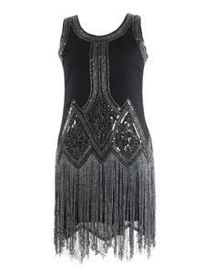 Модное платье 1920-х годов Платье Gatsby Flapper Черное платье с пайетками