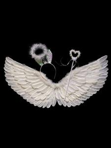 Halloween Angel Costume Acessórios para crianças White Wings Halo Headband Fairy Wand