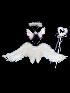 Acessórios do traje do anjo das crianças Halloween White Wings Halo Headband Fairy Wand